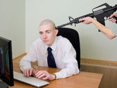 Arrest of the hacker at office — Stock Photo