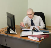 Bookkeeper on a workplace at office — Stock Photo