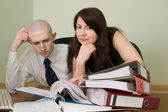 Bookkeeper and secretary on a workplace — Stock Photo