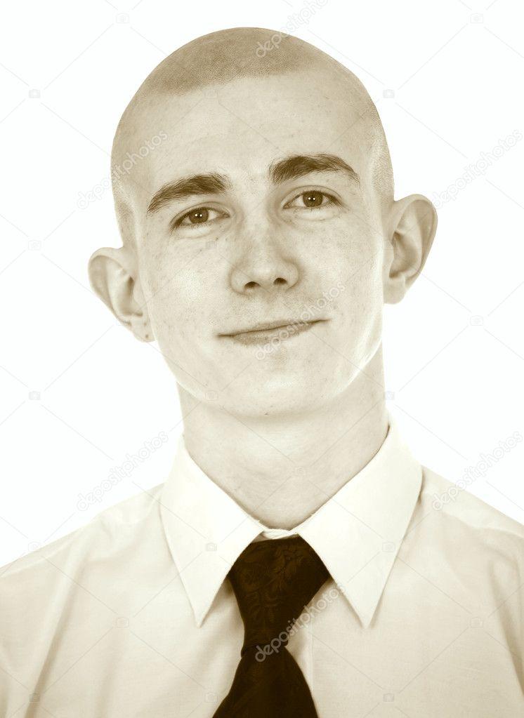 Faded portrait of the young man with a tie on a white background — Stock Photo #2269537