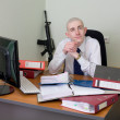 Self-satisfied worker of office armed — Stock Photo #2270188