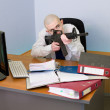 Stock Photo: Accountant armed with rifle