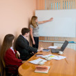 Young woman to speak at a meeting — Stock Photo #2272405