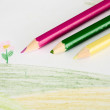 Children's drawing and pencils — Stock Photo