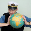 Stock Photo: Min secap compresses globe
