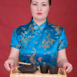Stock Photo: Japanese girl with tea-tray