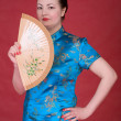 Japanese girl with fan — Stock Photo