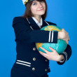 Stock Photo: Girl in uniform embrace globe