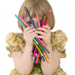 Little girl with crayons — Stock Photo