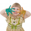 Little girl with multicolored palm — Stock Photo
