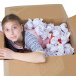 Girl in cardboard box - Stock fotografie