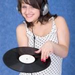 Girl with vinyl record — Stock Photo #2277481