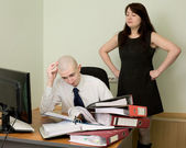 Bookkeeper and secretary on a workplace — Foto Stock
