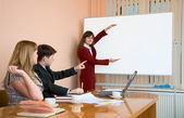Young woman to speak at a meeting — Stockfoto