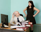 Bookkeeper, secretary on a workplace — Stock Photo