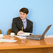 Business team sits at the table — Stok fotoğraf