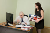 Bookkeeper and secretary on a workplace — Stock fotografie