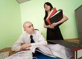 Bokhållare, sekreterare på en arbetsplats — Stockfoto