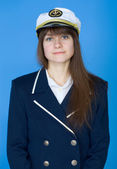 Portrait of the girl - captain — Stock Photo