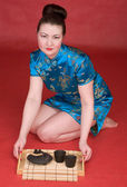 Japanese girl with tea-tray — Foto Stock