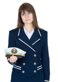 Girl in a sea uniform on white — Stock Photo