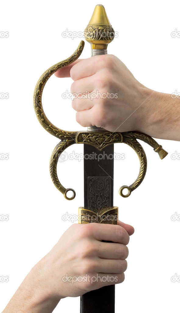 Shaft of sword on hand on the white background — Stock Photo #2270687