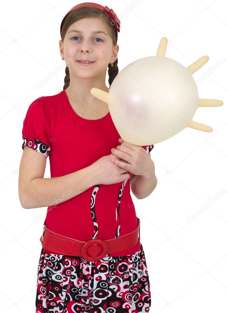 Young girl with swollen rubber glove in place of balloon  Stock Photo #2272794
