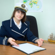 Girl - sea captain with the tablet — Stock Photo