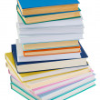 Big pile of books on a white background — Stock Photo