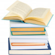 Stock Photo: Pile of books on white background