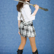 Girl with japanese sword on a shoulder — Stock Photo