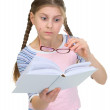 Girl with the book and eyeglasses — Stock Photo