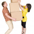 Stock Photo: Girl loads mwith cardboard boxes