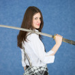 Young girl with sword — Stock Photo #2286653