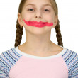 Girl with clown smile — Stock Photo