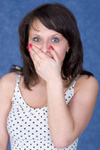 Woman to be open-mouthed with surprise — Stock Photo