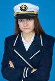 Portrait of the beautiful captain — Stock Photo