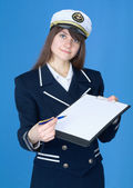 Woman in sea uniform with tablet — Stock Photo