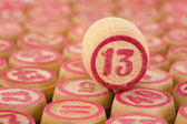 Counter of a bingo with number thirteen — Stock Photo