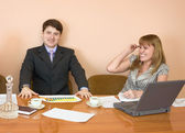 Business sits at the table — Stock Photo