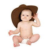 Baby in cowboy hat — Stock Photo