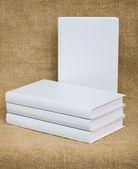 White books on the textile background — Stock Photo