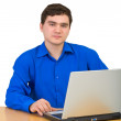 Stock Photo: Young man working for laptop
