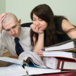 Bookkeeper and the secretary on a workplace — Stock Photo