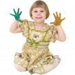 Little girl with multicolored palms — Stock Photo