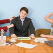 Business team sits at the table — Stock Photo #2293174