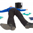 Businessman lies on a floor among things — Stock Photo