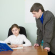 Tutor and schoolgirl — Stock Photo