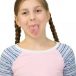 Girl to put out one is tongue — Stock Photo