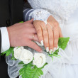 Male and female hands with wedding rings — Stock Photo